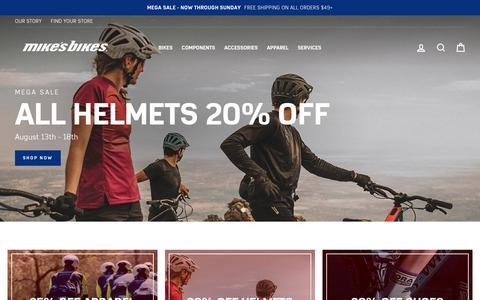 Screenshot of Home Page mikesbikes.com - Mike's Bikes - captured Aug. 16, 2019
