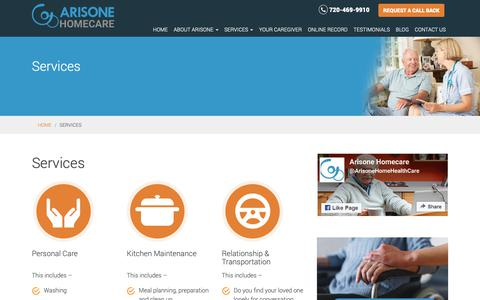 Screenshot of Services Page arisone.com - Our Services - Arisone Homecare – Denver, CO | Arisone - captured Oct. 4, 2018