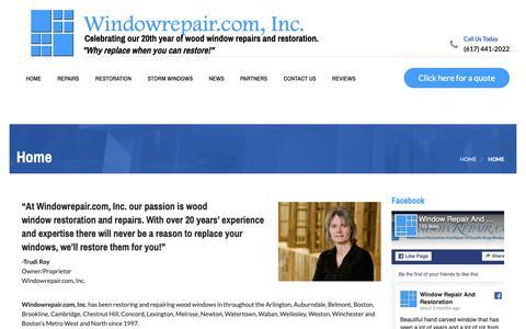 Screenshot of Home Page windowrepair.com - Home - Windowrepair.com, Inc. - captured Oct. 20, 2018