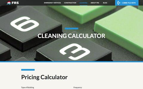 Screenshot of Pricing Page frs247.com - Pricing Calculator | FRS Cleaning - captured Feb. 10, 2016