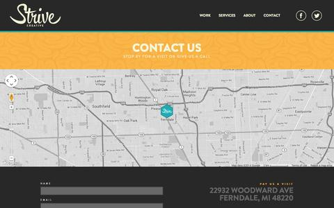 Screenshot of Contact Page strivecreative.com - Strive Creative - Contact - captured Nov. 5, 2014