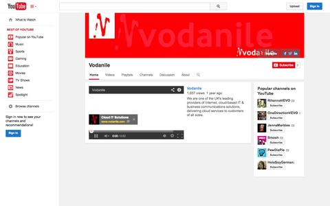 Screenshot of YouTube Page youtube.com - Vodanile  - YouTube - captured Oct. 29, 2014