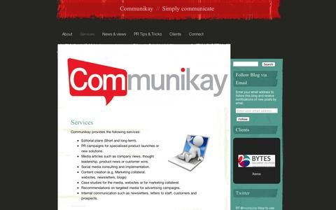 Screenshot of Services Page wordpress.com - Services | Communikay - captured Sept. 12, 2014