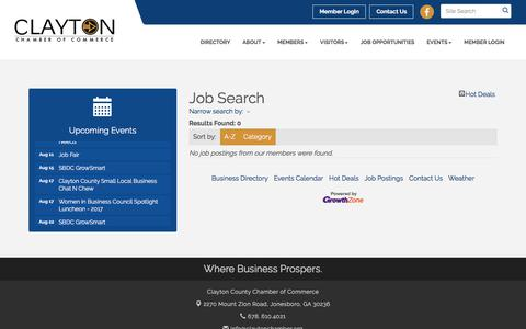 Screenshot of Jobs Page claytonchamber.org - Job Search - Clayton County Chamber of Commerce ,GA - captured Aug. 2, 2017
