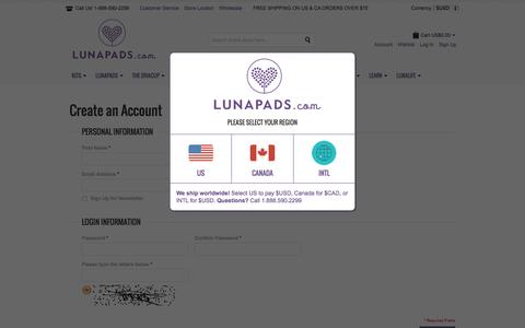 Screenshot of Signup Page lunapads.com - Create New Customer Account | Lunapads.com - captured Dec. 9, 2015