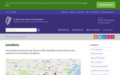Screenshot of Locations Page djei.ie - Office Locations - DJEI - captured Aug. 4, 2016