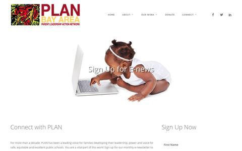 Screenshot of Signup Page parentactionnet.org - Sign Up for E-news - Bay Area Parent Leadership Action Network - captured Feb. 7, 2016