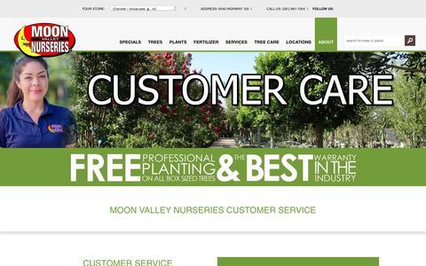 Screenshot of Support Page moonvalleynurseries.com - Customer Service | Online Nursery | Moon Valley Nurseries - captured Dec. 8, 2017