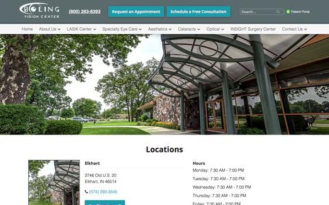Screenshot of Locations Page bolingvisioncenter.com - Locations | Boling Vision Center | Eye Doctor Goshen                 -                 Boling Vision Center - captured June 2, 2017