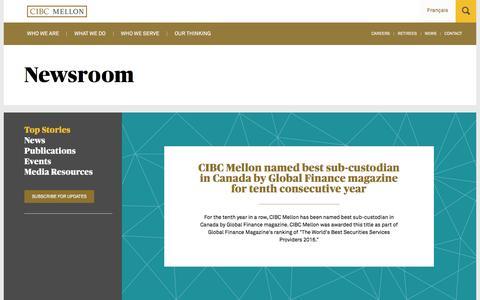 Screenshot of Press Page cibcmellon.com - Top Stories - News | CIBC Mellon - captured July 9, 2016
