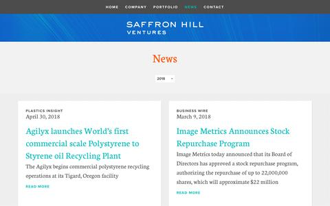 Screenshot of Press Page saffronhill.com - News | Saffron Hill Ventures - captured Oct. 1, 2018