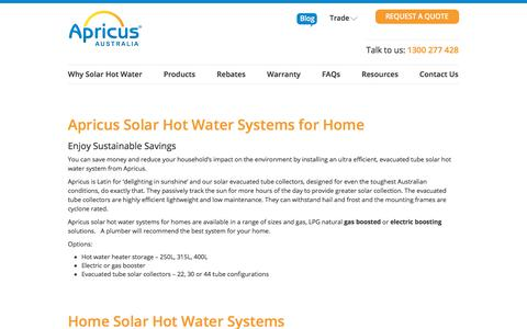 Screenshot of Products Page apricus.com.au - Solar Hot Water Systems for Home | Apricus Australia - captured Feb. 11, 2018