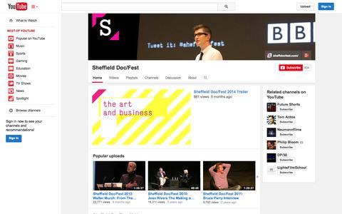Screenshot of YouTube Page youtube.com - Sheffield Doc/Fest  - YouTube - captured Oct. 26, 2014