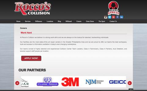 Screenshot of Jobs Page roccoscollision.com - Careers | Rocco's Collision - captured Dec. 1, 2016