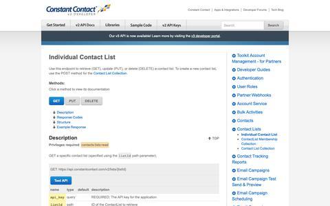 Screenshot of Developers Page constantcontact.com - Individual Contact List | Constant Contact Developer - captured June 18, 2019
