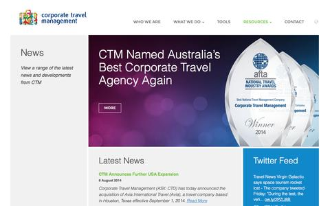 Screenshot of Press Page travelctm.com - News - Corporate Travel Management - captured Nov. 2, 2014