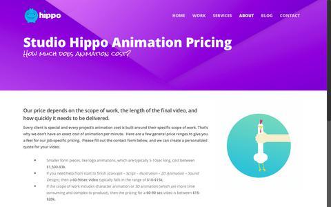 Screenshot of Pricing Page studiohippo.com - Animation Cost - Studio Hippo - captured Nov. 11, 2017