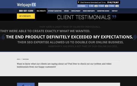 Screenshot of Testimonials Page webpagefx.com - SEO Company Reviews | Web Design & Web Development Testimonials - WebpageFX - captured Oct. 26, 2014