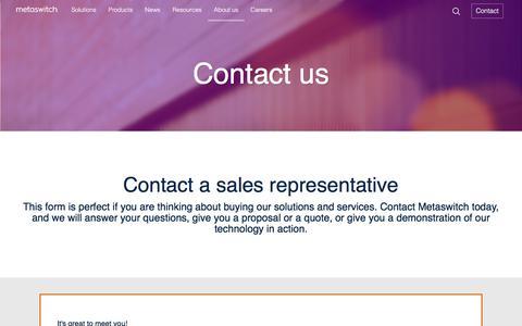 Screenshot of Contact Page metaswitch.com - Contact us - captured June 30, 2017