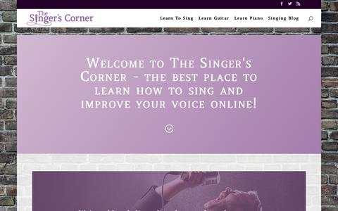 Screenshot of Home Page thesingerscorner.com - Learn How To Sing Like a Pro Online at The Singer's Corner Today! - captured Feb. 23, 2018