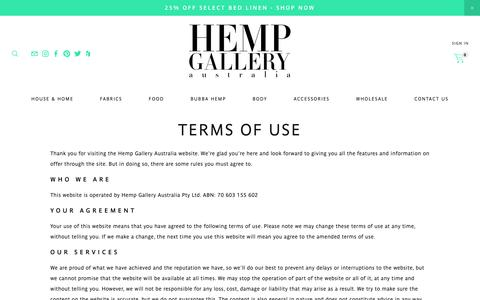 Screenshot of Terms Page hempgallery.com.au captured Nov. 4, 2018