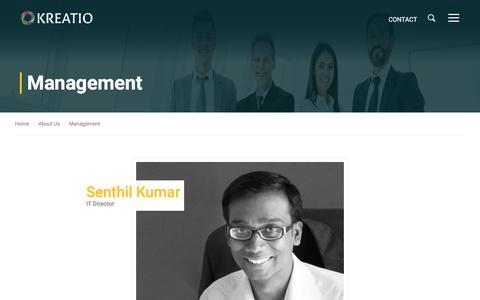 Screenshot of Team Page kreatio.com - KREATIO - Management - captured Oct. 16, 2017