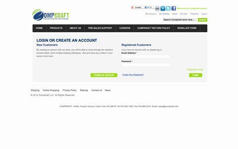 Screenshot of Login Page compkraft.com - Customer Login - captured Dec. 10, 2015