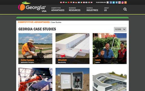 Screenshot of Case Studies Page georgia.org - Case Studies Archive - Georgia Department of Economic Development - captured Sept. 5, 2016