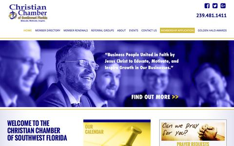 Screenshot of Home Page hischamber.org - Christian Chamber of Southwest Florida - captured Nov. 5, 2016