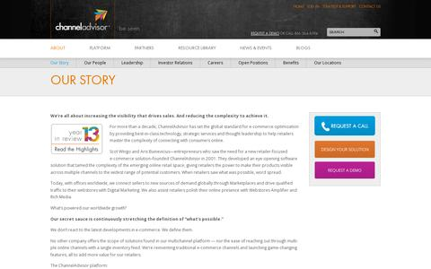 Screenshot of About Page channeladvisor.com - ChannelAdvisor History | The Global E-Commerce Standard - captured July 18, 2014