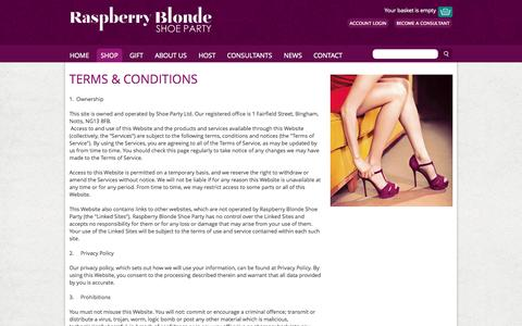 Screenshot of Terms Page raspberryblonde.co.uk - Terms & Conditions > Raspberry Blonde Home > Raspberry Blonde Shoe Party - captured Nov. 5, 2014