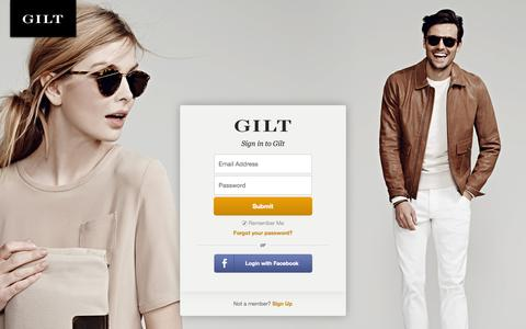 Screenshot of Login Page gilt.com - Gilt Groupe - captured June 16, 2015