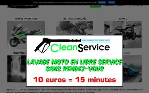 Screenshot of Home Page clean-bike.com - CLEAN-BIKE | 1er centre de cosmétique moto - captured July 13, 2016