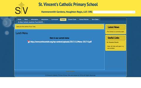 Screenshot of Menu Page stvincentshr.org - Lunch Menu | St. Vincent's Catholic Primary School - captured Jan. 28, 2018