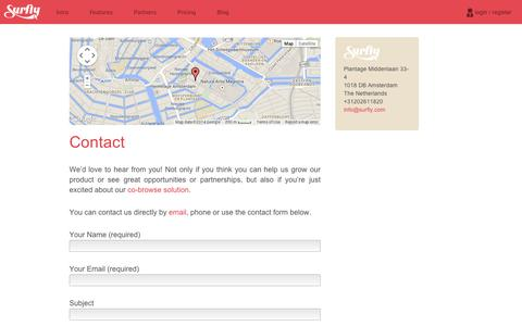 Screenshot of Contact Page surfly.com - Surfly | Contact us - captured Sept. 11, 2014