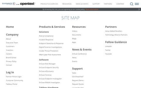 Screenshot of Site Map Page guidancesoftware.com - Guidance Software - Sitemap | Content Navigation - captured Aug. 2, 2019