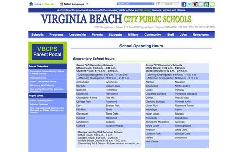 Screenshot of Hours Page vbschools.com - Virginia Beach City Public Schools - School Operating Hours - captured Oct. 31, 2014