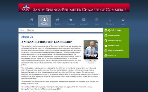 Screenshot of About Page sandyspringsperimeterchamber.com - About Us - Sandy Springs/Perimeter Chamber of Commerce - captured Oct. 4, 2014