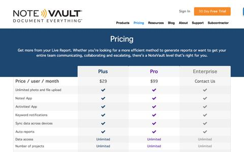 Screenshot of Pricing Page notevault.com - Construction Reporting App Pricing | NoteVault - captured Dec. 6, 2016