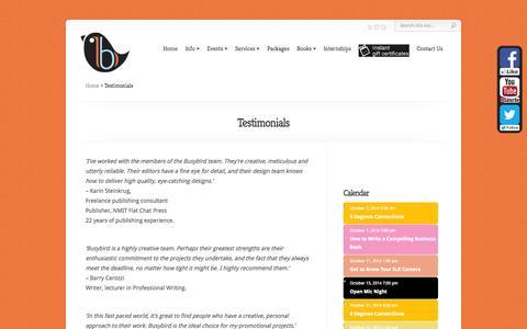 Screenshot of Testimonials Page busybird.com.au - Testimonials | Busybird Publishing - captured Oct. 5, 2014