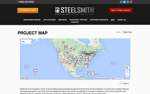 Screenshot of Maps & Directions Page steelsmithinc.com - Steel Building Project Map | Steelsmith, Inc. - captured Feb. 24, 2016