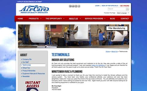 Screenshot of Testimonials Page air-care.com - Air Duct Cleaning Equipment Reviews - Air-Care Testimonials - captured Sept. 30, 2014