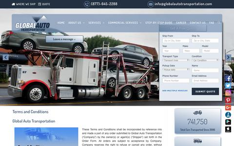 Screenshot of Terms Page globalautotransportation.com - Terms and Conditions   GAT Car Transport & Vehicle Moving - captured Dec. 8, 2018