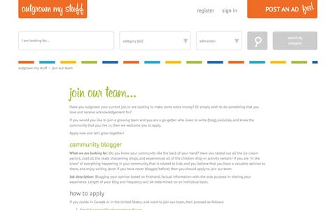 Screenshot of Signup Page outgrownmystuff.com - Outgrown My Stuff - Join Our Team - captured Oct. 26, 2014