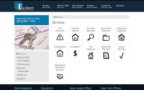 Screenshot of Services Page evidenttitle.com - Services | Evident Title Agency - captured Nov. 11, 2016