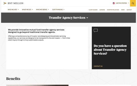 Screenshot of Services Page bnymellon.com - Transfer Agency Services | BNY Mellon - captured Sept. 30, 2017
