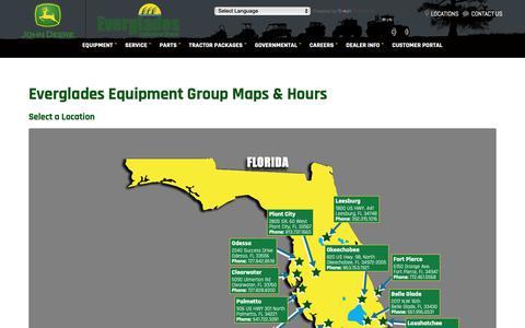 Screenshot of Locations Page evergladesfarmequipment.com - Maps & Hours | Central & South FL | Everglades Equipment Group - captured Sept. 29, 2018