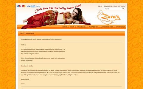 Screenshot of Testimonials Page zaraszouk.co.uk - Testimonials : Zara's Zouk - Belly Dancing Supplies Shop - captured Oct. 7, 2014