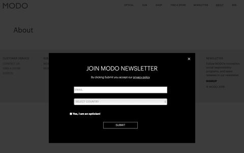 Screenshot of About Page modo.com - About - MODO - captured Oct. 19, 2018