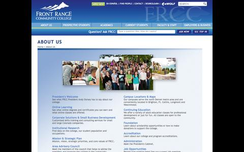 Screenshot of About Page frontrange.edu - About Us - FRCC - captured Sept. 19, 2014